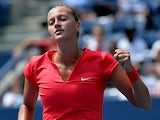 Petra Kvitova celebrates her win over Misaki Doi during the first round of the US Open on August 27, 2013
