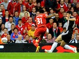 Liverpool's Raheem Sterling scores the opening goal against Notts County during their League Cup match on August 27, 2013