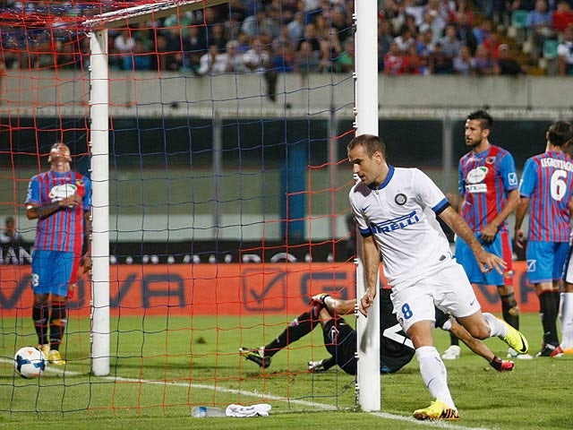 Inter's Rodrigo Palacio celebrates after scoring the opening goal against Catania on September 1, 2013
