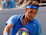 Roger Federer in action during the match against Grega Zemlja during the first round of the US Open on August 27, 2013
