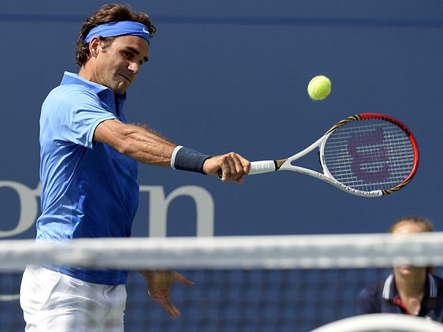 Roger Federer in action during the match against Carlos Berlocq during the second round of the US Open on August 29, 2013