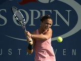 Sara Errani in action against Olivia Rogowska during the first round of the US Open on August 27, 2013