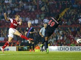 Bristol City's Scott Wagstaff scores his team's second goal against Crystal Palace during their League Cup match on August 27, 2013