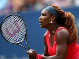 Serena Williams in action against Sloane Stephens during their US Open third round match on September 1, 2013