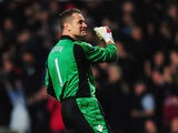 Shay Given of Aston Villa celebrates as Andreas Weimann of Aston Villa scores their second goal during the FA Cup with Budweiser Third Round match between Aston Villa and Ipswich Town at Villa Park on January 5, 2013
