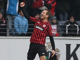 Frankfurt's midfielder Stefan Aigner celebrates after scoring 1-0 during the German first division Bundesliga football match Eintracht Frankfurt vs VfB Stuttgart in Frankfurt am Main, western Germany, on March 17, 2013