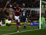 Troy Archibald-Henville of Swindon Town celebrates scoring his sides third goal during the Capital One Cup Third Round match between Swindon Town and Burnley at the County Ground on September 25, 2012