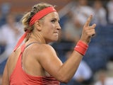 Belarus tennis player Victoria Azarenka celebrates winning against Germany's Dinah Pfizenmaier during their 2013 US Open women's singles match at the USTA Billie Jean King National Tennis Center in New York on August 27, 2013