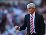 Stoke City manager Mark Hughes reacts during the Barclays Premier League match between West Ham United and Stoke City at the Bolyen Ground on August 31, 2013