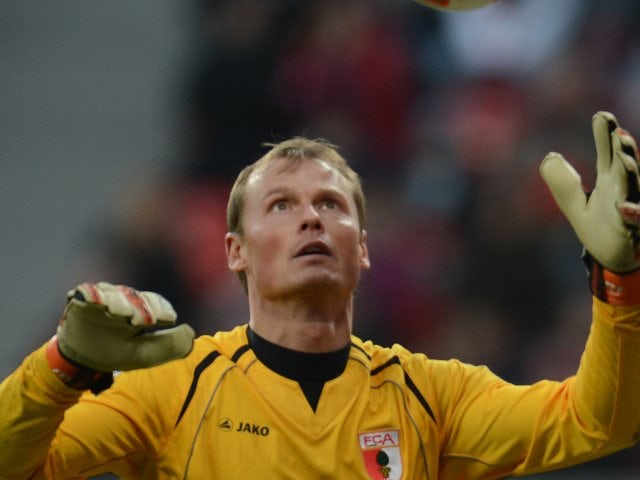 Former Arsenal goalkeeper Alex Manninger in action for Augsburg in February 2013.