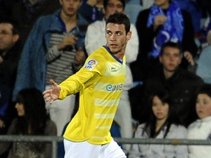 Alvaro Vazquez celebrates a goal against Espanyol on February 18, 2012