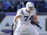 Anthony Castonzo #74 of the Indianapolis Colts defends against the Baltimore Ravens at M&T Bank Stadium on December 11, 2011