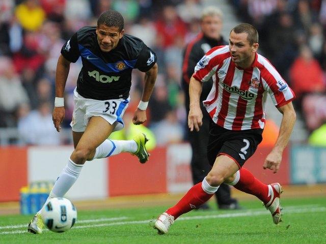 Bebe powers his way past Sunderland defender Phil Bardsley.