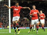 Bebe celebrates scoring his first Manchester United goal against Wolverhampton Wanderers.