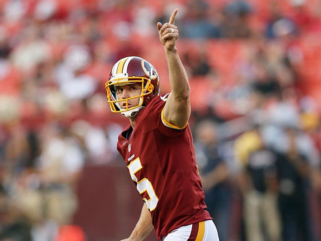 Washington Redskins' Billy Cundiff celebrates his first quarter field goal against Tampa Bay Buccaneers on August 29, 2012