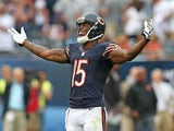 Bears' Brandon Marshall celebrates catching a TD pass against Cincinnati on September 8, 2013