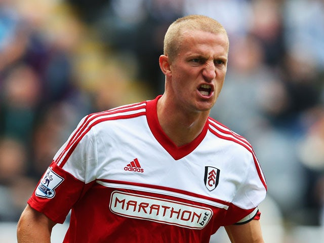 Brede Hangeland of Fulham in action during the Barclays Premier League match between Newcastle United and Fulham at St James' Park on August 31, 2013