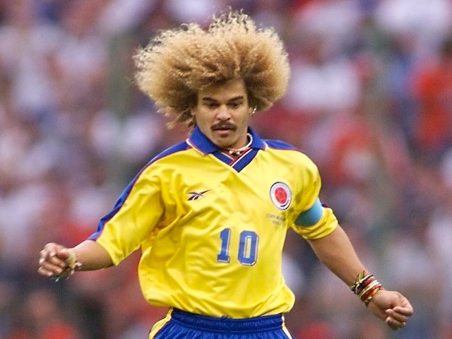 Colombian captain Carlos Valderrama controls the ball during the World Cup match against England on June 26, 1998