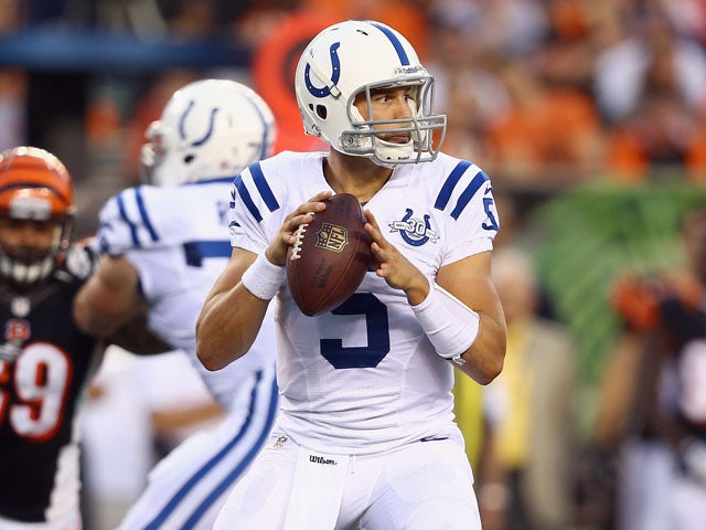 Chandler Harnish #5 of the Indianapolis Colts looks to pass the ball during the preaseason game against the Cincinnati Bengals at Paul Brown Stadium on August 29, 2013