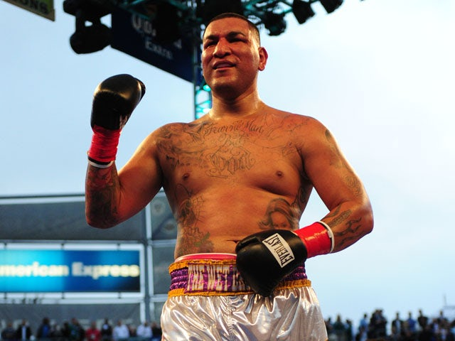 Chris Arreola of the US celebrates after defeating Nagy Aguilera also of the US by a TKO during their Super Six World Boxing Classic Heavyweight fight at the Home Depot Center in Los Angeles, California on May 14, 2011
