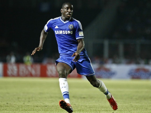 Demba Ba of Chelsea runs for the ball during the match between Chelsea and Indonesia All-Stars at Gelora Bung Karno Stadium on July 25, 2013