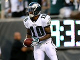 DeSean Jackson #10 of the Philadelphia Eagles celebrates his touchdown in the second half against the New England Patriots on August 9, 2013