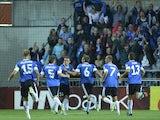 Estonia's Konstatin Vassiljev celebrates scoring against The Netherlands on September 6, 2013