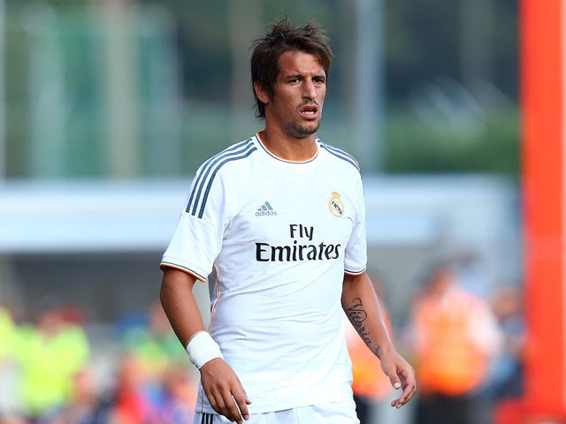 Fabio Coentrao of Real Madrid looks on during a pre season friendly match between AFC Bournemouth and Real Madrid at Goldsands Stadium on July 21, 2013