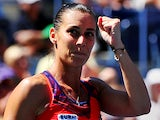 Flavia Pennetta celebrates her win against Roberta Vinci during the quarter-finals of the US Open on September 4, 2013