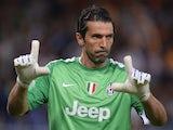 Juventus goalkeeper Gianluigi Buffon reacts during the seria A football match Sampdoria against Juventus, on August 24, 2013