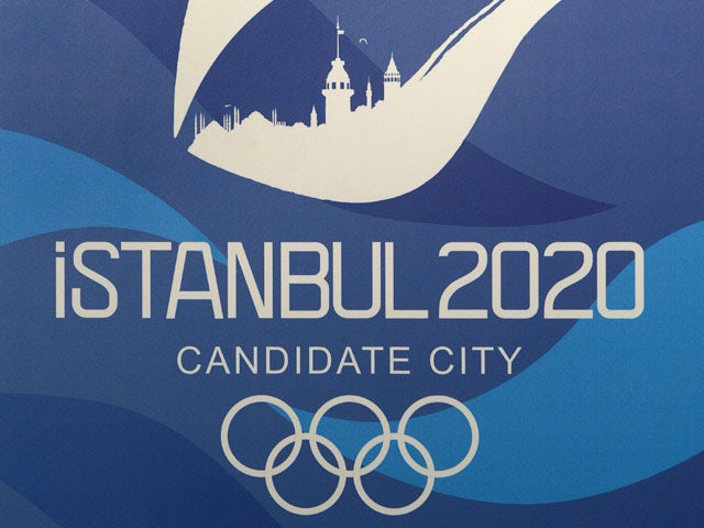 The logo of Istanbul 2020 candidate city is seen before Istanbul 2020 Bid Chairman Hasan Arat gives a news conference promoting Istanbul for the 2020 Olympic games in Buenos Aires on September 6, 2013