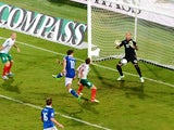 Alberto Gilardino #11 of Italy scores his opening goal during the FIFA 2014 World Cup Qualifying Group B match between Italy and Bulgaria at Stadio Renzo Barbera on September 6, 2013
