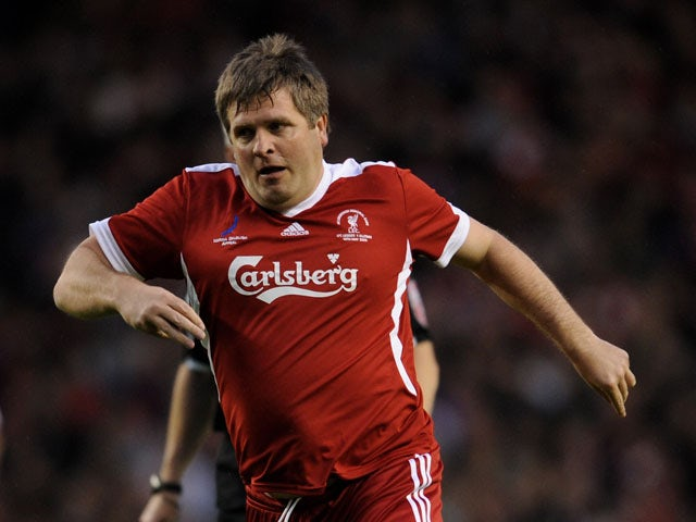 Jan Molby of Liverpool Legends in action during the Hillsborough Memorial match between Liverpool Legends and All Stars XI at Anfield on May 14, 2009