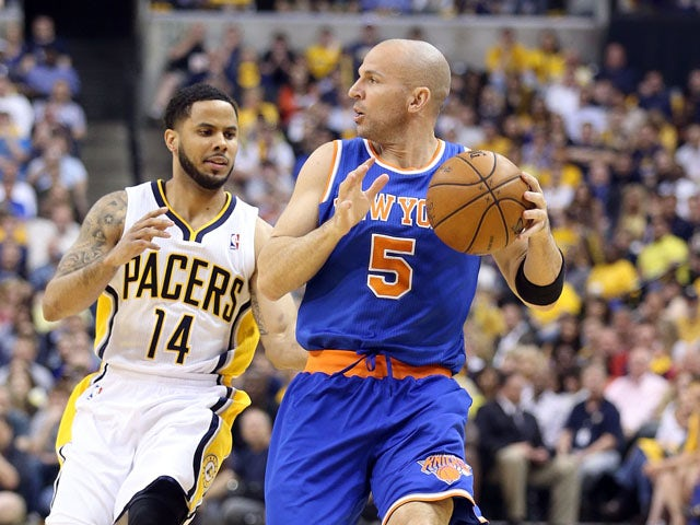 Jason Kidd #5 of the New York Knicks dribbles the ball against the Indiana Pacers during Game Four of the Eastern Conference Semifinals of the 2013 NBA Playoffs at Bankers Life Fieldhouse on May 14, 2013