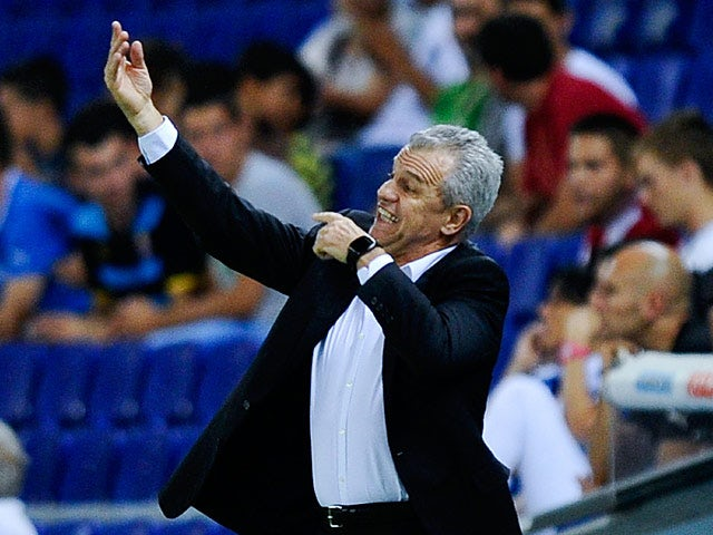 Espanyol head coach Javier Aguirre reacts on the touchline during the match against Valencia on August 24, 2013