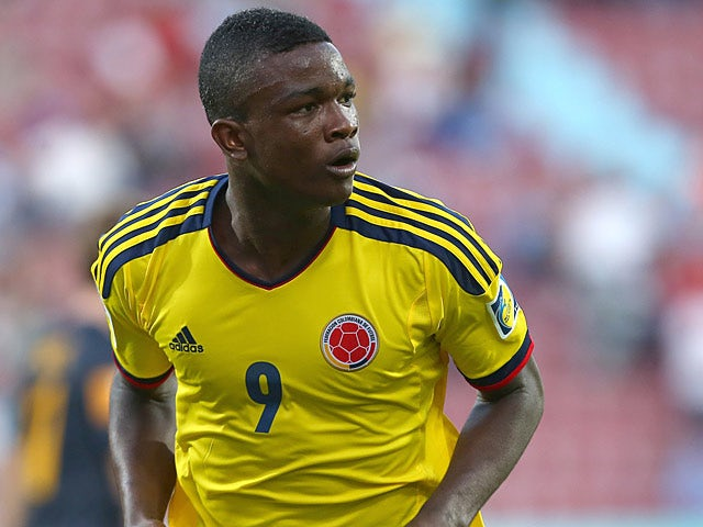 Columbia's Jhon Cordoba celebrates his goal during the Under 20 World Cup match against Australia on June 22, 2013