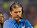Head coach Jim Schwartz of the Detroit Lions reacts during the first half of a preseason at FirstEnergy Stadium on August 15, 2013
