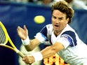 Jimmy Connors plays a shot at the US Open on September 2, 1992