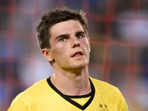 Jonas Hofmann celebrates finding the net for Borussia Dortmund against Basel in July 2013.