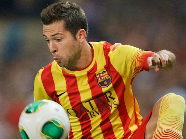 Barca full back Jordi Alba in action against Atletico Madrid on August 21, 2013