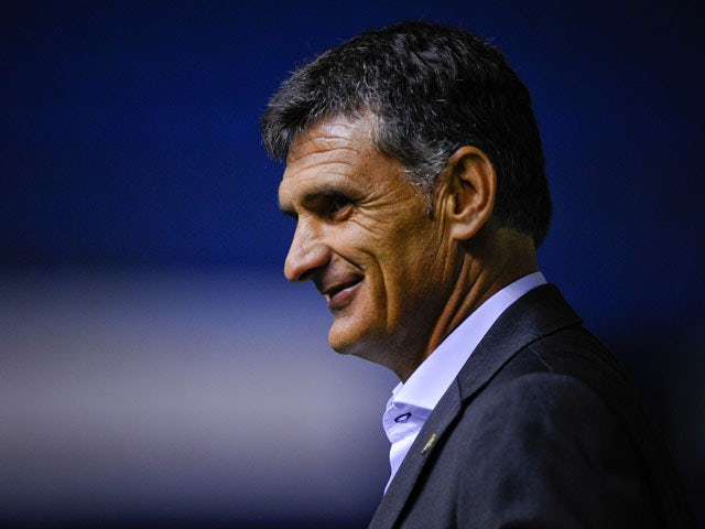 Head coach Jose Luis Mendilibar of CA Osasuna looks on during the La Liga match between CA Osasuna and Villareal CF at El Sadar Stadium on August 31, 2013