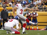 Giants kicker Josh Brown during a pre-season game with Pittsburgh on August 10, 2013