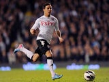 Kerim Frei of Fulham in action during the Barclays Premier League match between Fulham and Chelsea at Craven Cottage on April 17, 2013