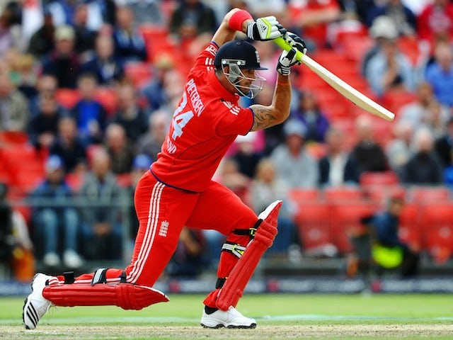 Kevin Pietersen plays a front-foot drive against Australia in the second ODI at Old Trafford on September 8, 2013