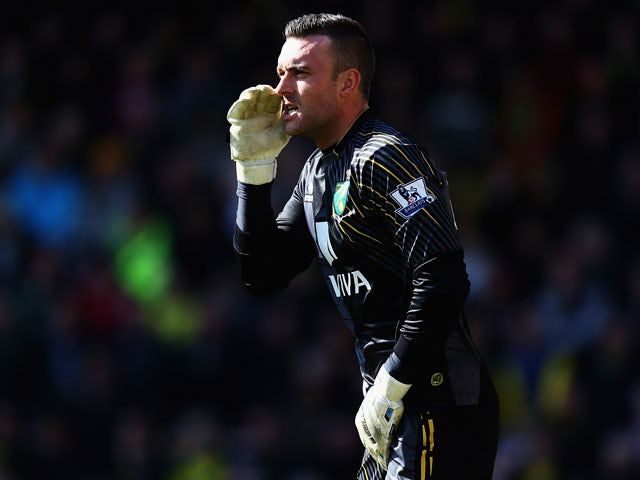 Lee Camp of Norwich City in action during the Barclays Premier League match between Norwich City and Swansea City at Carrow Road on April 6, 2013