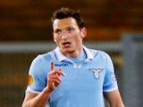 Lazio's Libor Kozak celebrates a goal against Stuttgart on March 14, 2013