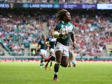 Marland Yarde of London Irish breaks clear to score a try during the Aviva Premiership match between London Irish and Saracens at Twickenham Stadium on September 7, 2013