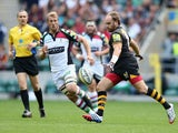 Andy Goode of Wasps kicks the ball upfield during the Aviva Premiership match between London Wasps and Harlequins at Twickenham Stadium on September 7, 2013