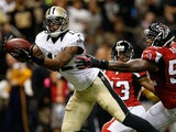 Saints' Marques Colston catches a touchdown pass against the Saints on September 8, 2013