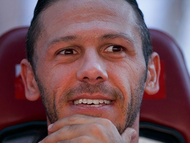 Martin G. Demichelis on the bench prior to start the La Liga match between Club Atletico de Madrid and Rayo Vallecano de Madrid at Vicente Calderon Stadium on August 25, 2013